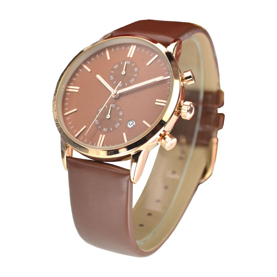 Business double movement Watch Brand Design Mens Leather Watch