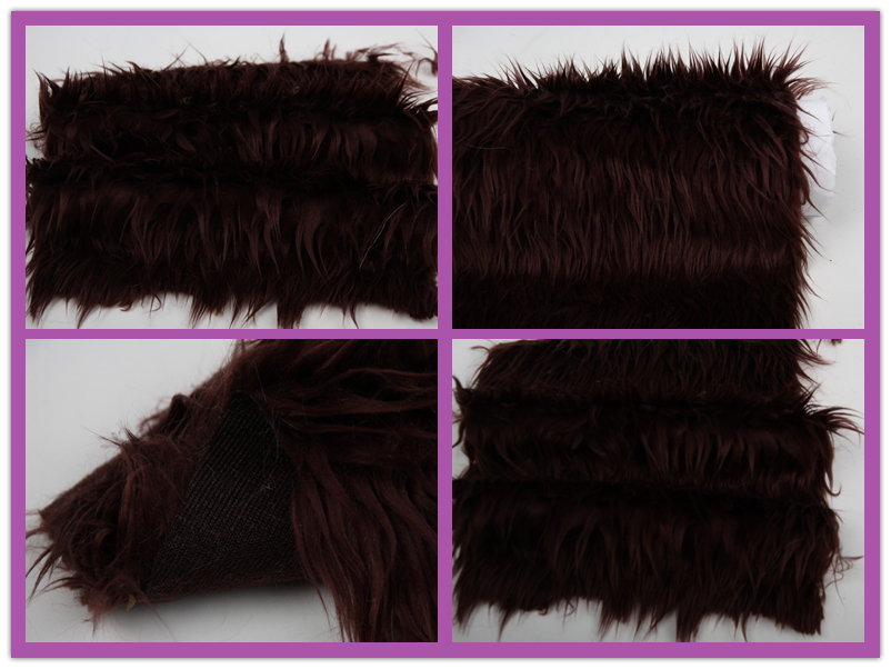 70mm long hair plushed soft brownish red acrylic polyester long hair fake fur fabric