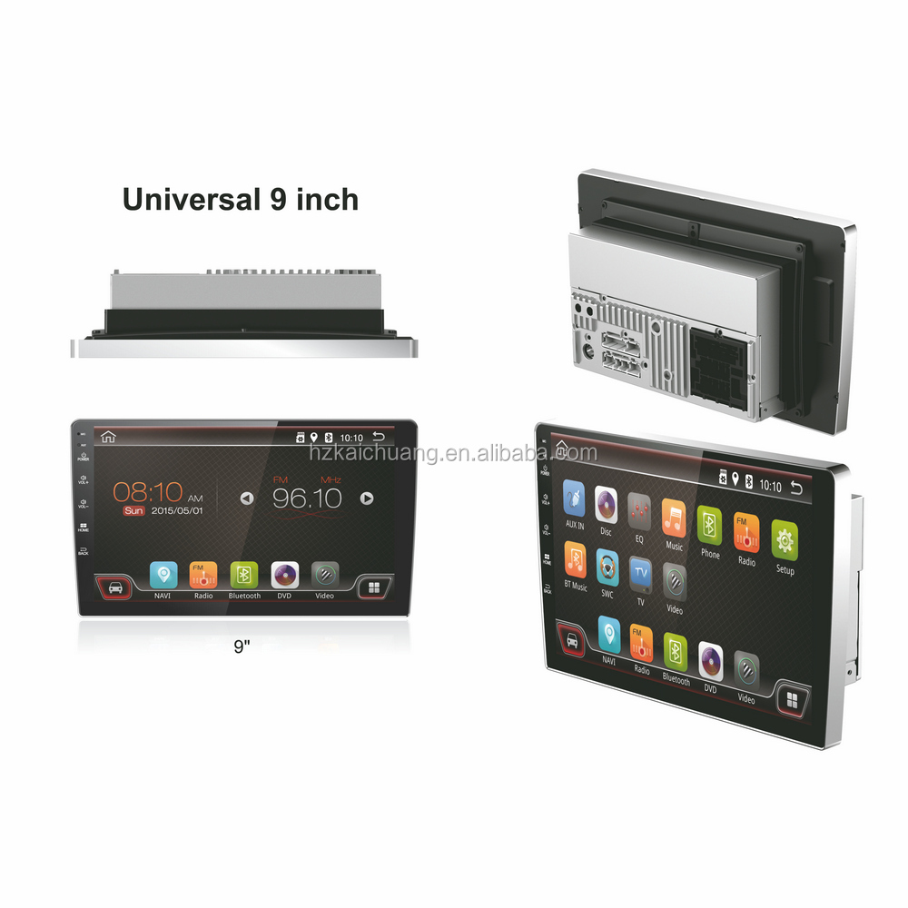 9 inch universal car dvd player touch screen with Navigation supports both synchronous playback radio