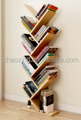 wooden melamine mdf particle board simple modern bookcase tree bookshelf