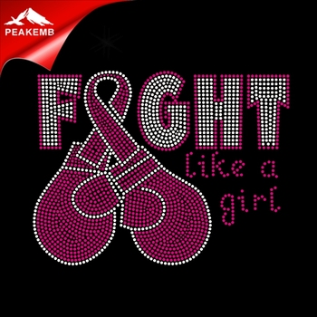 New design Gloves Cancer Ribbon Fight Like A Girl Rhinestone Hot Fix Transfers