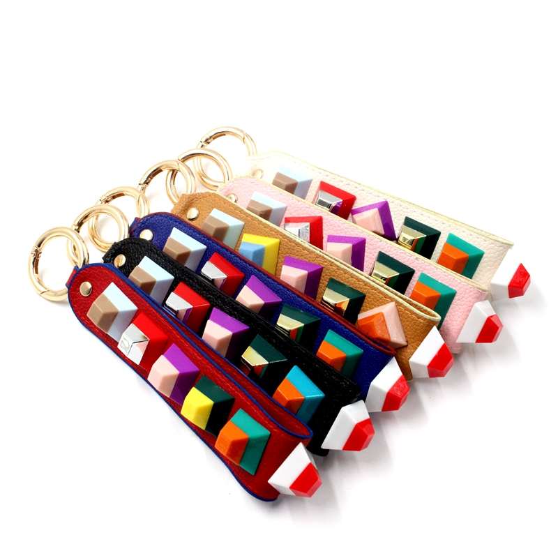 Colorful New Fashion Simple Design Long Rivet Leather Phone Chain
