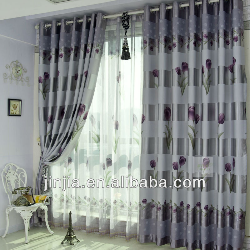 High quality embroidery sheer organza voile jacquard blackout burnout print curtain fabric 20 years curtain factory