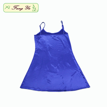 Sex Girls Satin Blue Nightgown With Shoulder-Straps