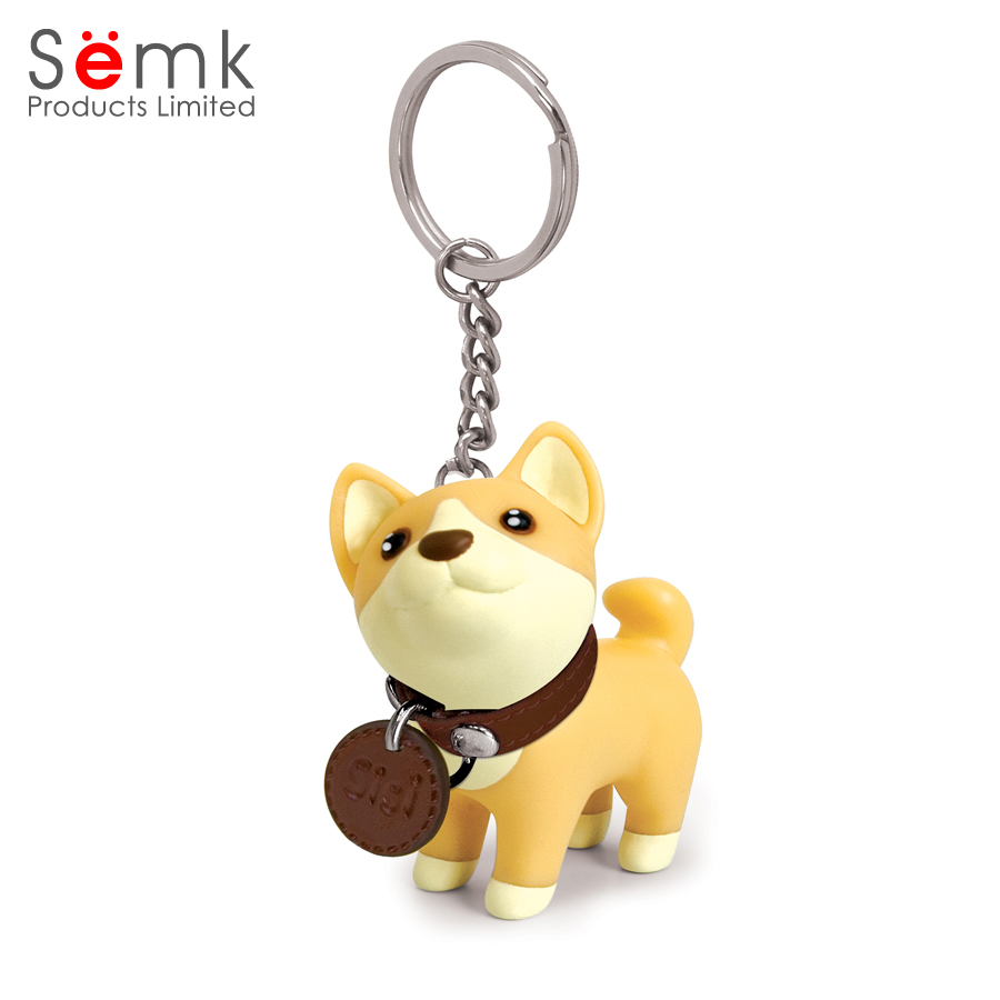 Cute animal shaped keyring plastic pvc custom dog keychain