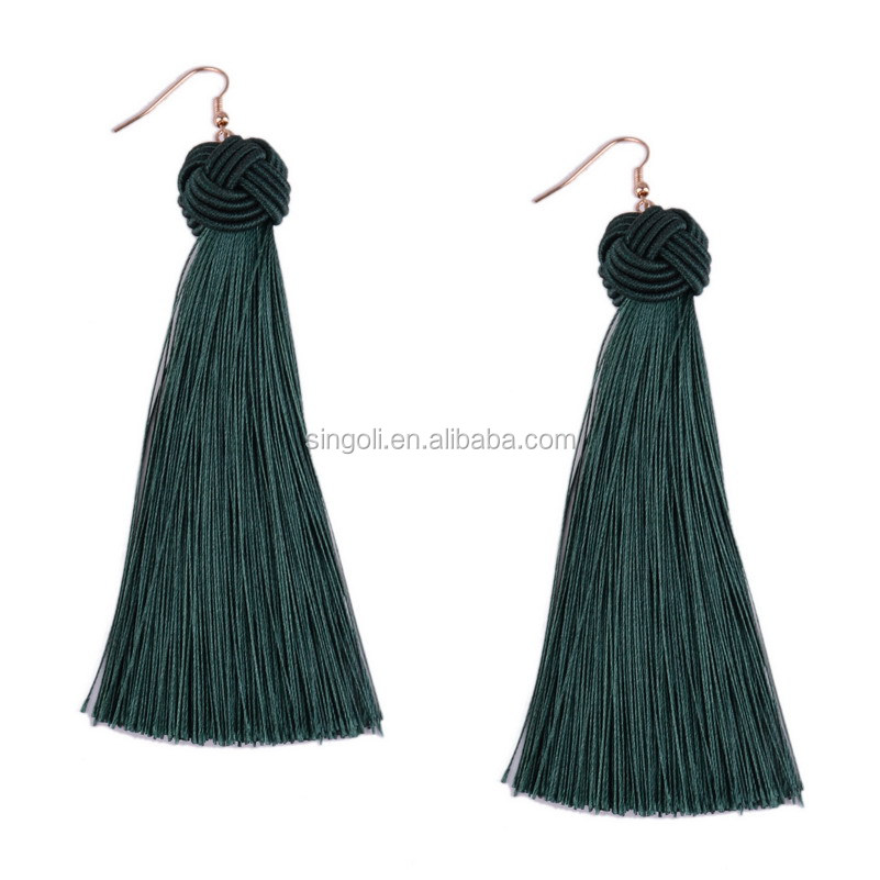 Wholesale Fashion Latest Design Silk Thread Tassel Earrings Women Long Thread Earrings