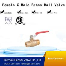 "USA eco-friendly copper forged water supply 3/4"" female * male thread PT NPT full port brass ball valve"