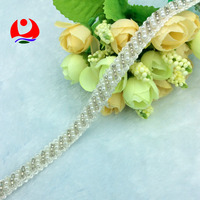 wholesale polyester beaded lace trimming with shiny white plastic pearl beads design for garment decoration