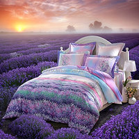 LOVO Fragrance of Provence Beautiful 100% Cotton 4-Piece Bedding Set 1x Duvet Cover, 1x Flat Sheet and 2x Pillow Covers Purple Q