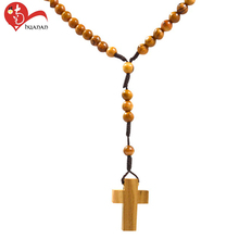 Handmade popular religious rosary natural olive wood resin beads necklace