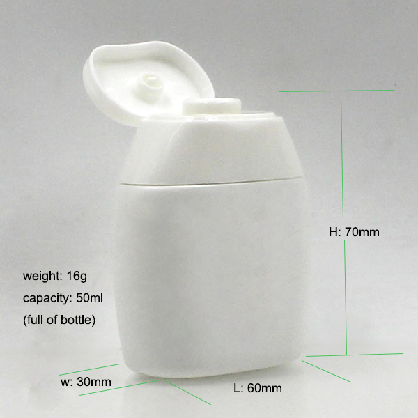 White 40ml oval flat mini soft squeeze juice water enhance plastic bottle with silicone cap