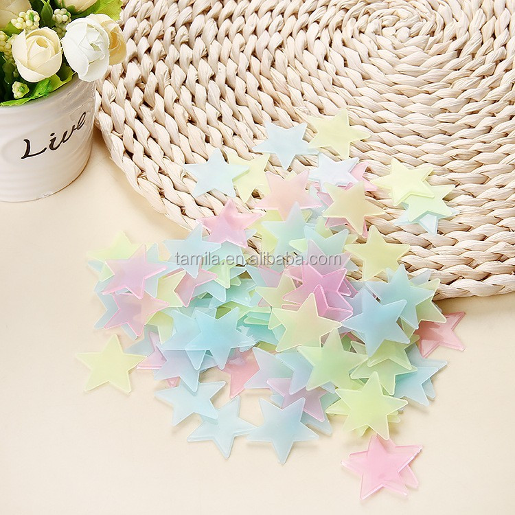 glowing in dark 3.80cm 100 stars for kids room decorative wall decal