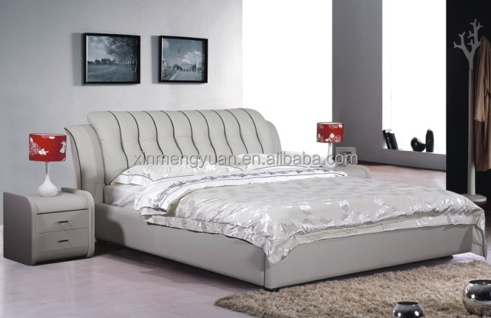 2017 latest double bed designs hot selling model