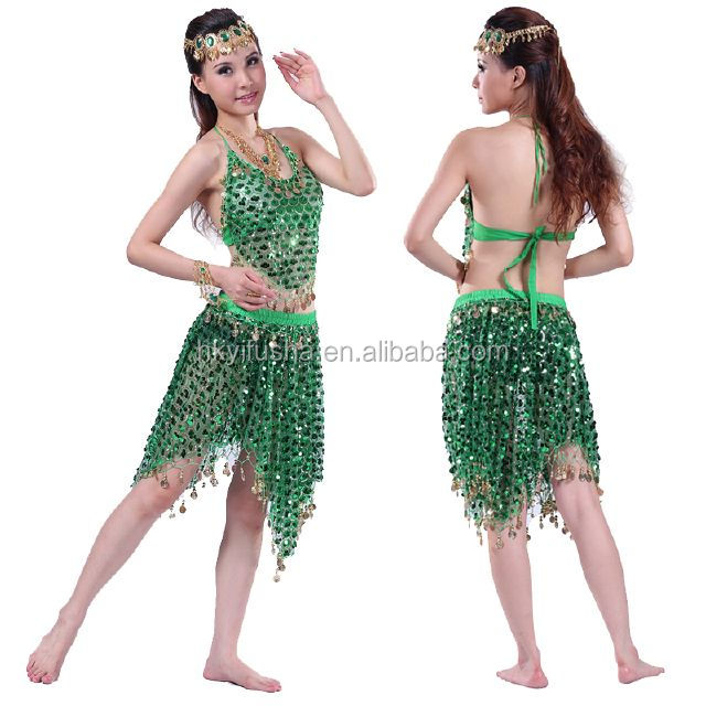 Sexy tulle sequined belly dance top and skirt set with coins