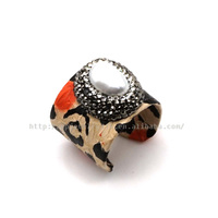 5% Python Snakeskin Leather Ring Mother of Pearl MOP Stone Ring HPYR2522
