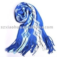 New 2011-2012 pashmina jacquard blue and white shawl