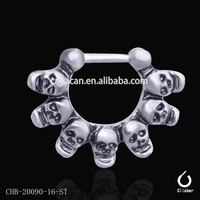 7 skull nose ring body jewelry