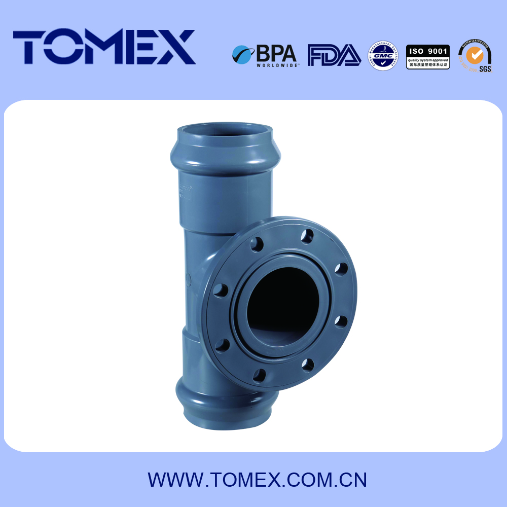 High quality and best price rubber flange tee pvc pipe fitting