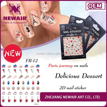 Joyme Wholesale Nail Supplies Salon 2D Design Fashion 5 Finger Nails Art for Stickers