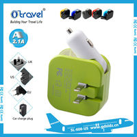 Otravel best selling mobile accessories 2016 dual USB charger 2100mA car and wall charger universal