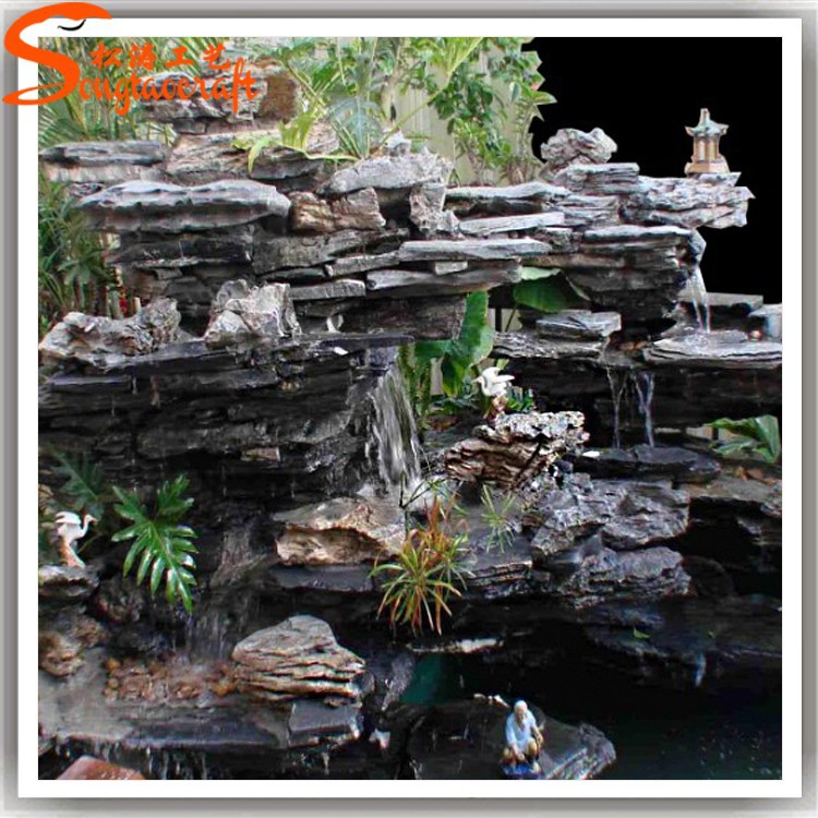 Professional manufacturer make artificial fiberglass rock waterfall home decoration waterfall