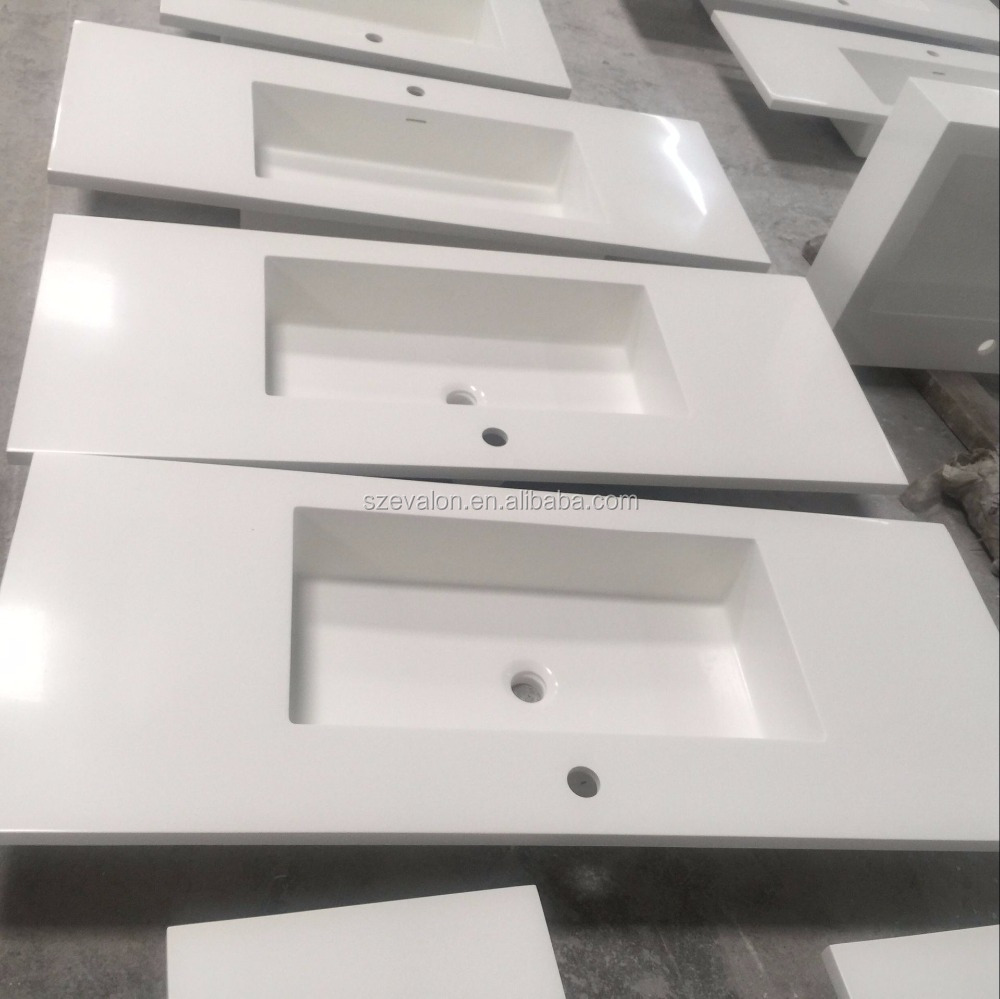 Artificial stone rectangular single bowl solid surface wash basin,solid surface wall hung basin