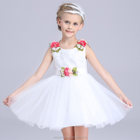 Girl Party Wear Western Dress White Color with Fancy Rose Baby Girl Party Dress