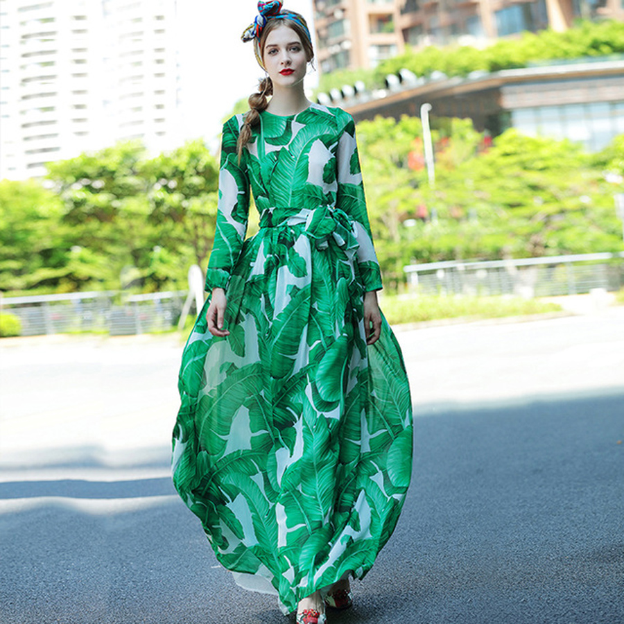 Fashion Long Dress Plus Size XXL 2017 Summer New Fashion Good Palm Leaves Print with Belt Full Sleeve Ankle Length Green Dress
