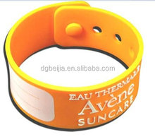 Yellow adjustable silicone wristband for men