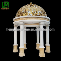 Antique yellow marble column gazebo for sale