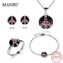 925 sterling silver ceramic peace jewelry set CR311