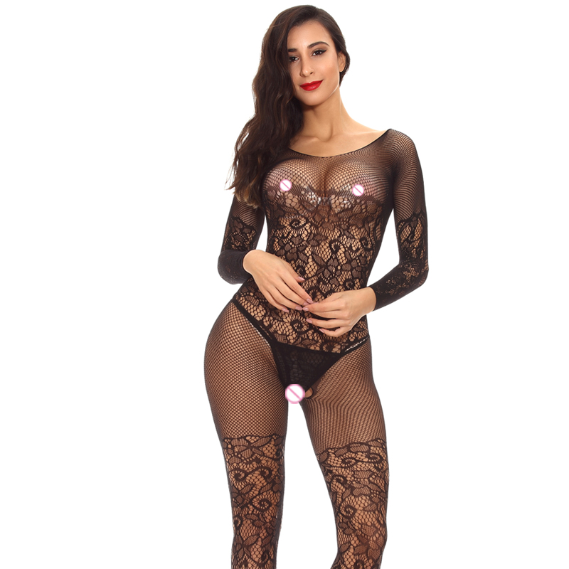 Factory price long sleeve bodystocking open crotch backless lingerie