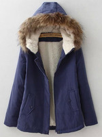 Outerwear Tops fashion women christmas latest design Navy Faux Fur Hooded Pockets Coat