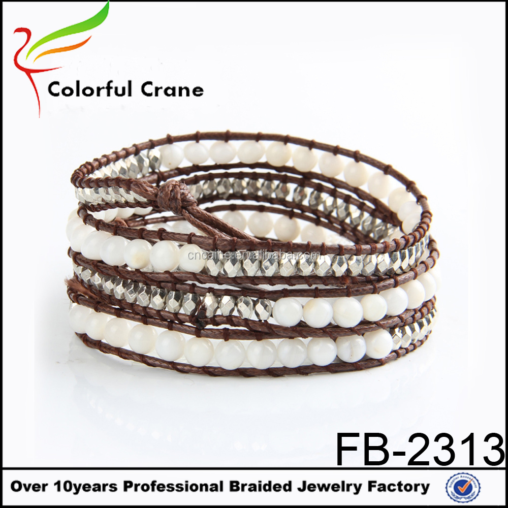 New arrive, white shell bead wrap leather bracelet