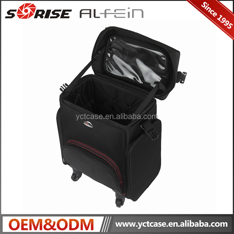 Hot Recommend Nylon Beauty Trolley Makeup Artist Case , Wholesale Hair Stylist professional Makeup Trolley Case