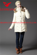 lady long goose down coat/jacket with belt