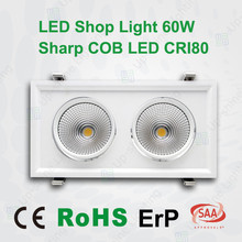 SAA CE ErP RoHs approved 30W 60W 90W Sharp COB LED shop lighting rectangular recessed downlight