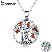 BAMOER SCN203 Hot Sale 100% 925 Sterling Silver 2 Color Tree of Life AAA Zircon Pendant Necklaces for Women Jewelry Brincos