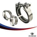 "PQY RACING - 2"" SUS 304 Steel Stainless Exhaust V Band Clamp Flange Kit V-band Vband Male Female Design PQY5240"
