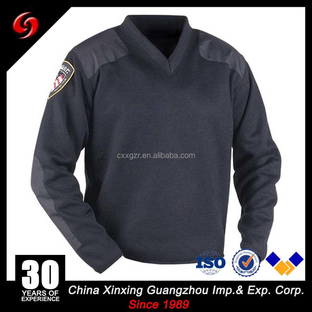 China Xinxing Guangzhou Military 50%Acrylic/ 50%Wool V-Neck Dark Blue Color Sweater Army Pullover Cardigan with Badges