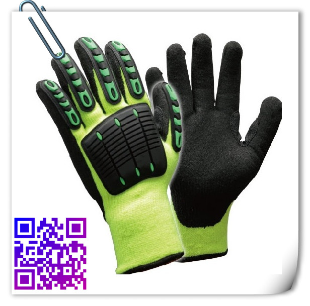 acrylic nap lining sandy reinforved TPR for shock proof mechanical gloves