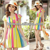 The new spring/summer 2013 women's clothing fashion irregular printed chiffon dress