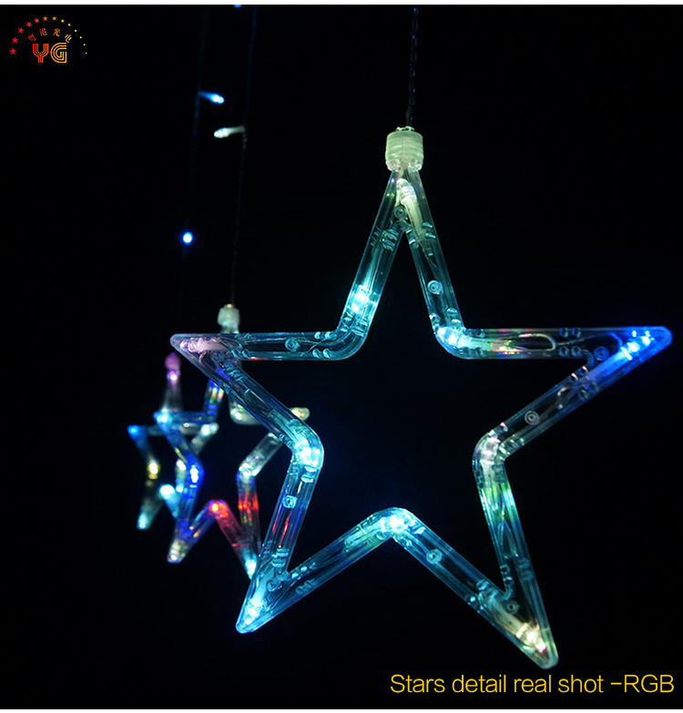 New Design Red Star Shape Ip65 Led Curtain Light String For Holiday Christmas Decoration With Ce ...