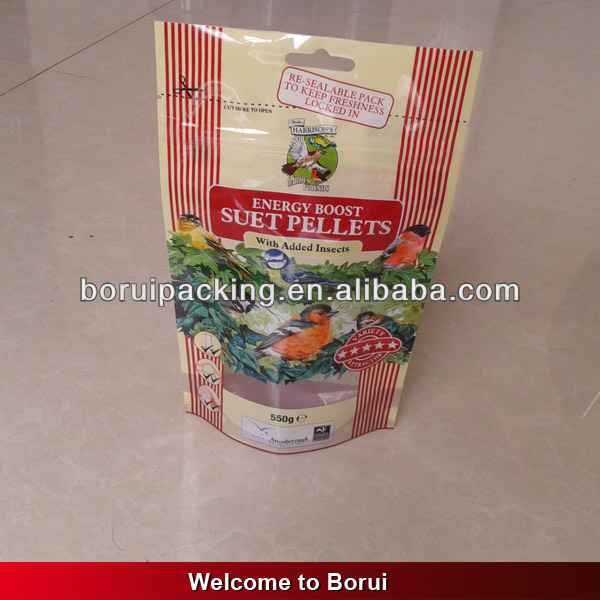 food safe bird food plastic bag with ziplock and window