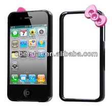 Premium Hello Kitty Bow Bowknot Skin Bumper Frame Case Cover for iPhone4 4S