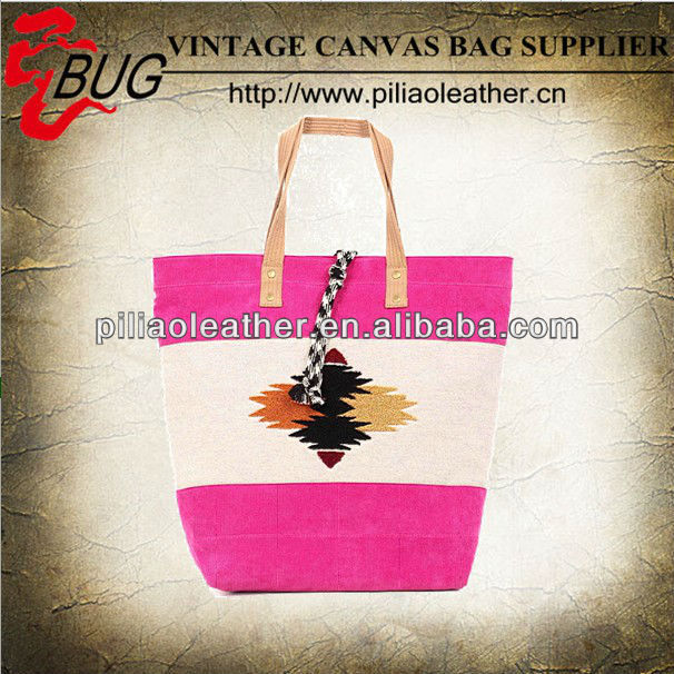 BUG 2014 new arrival dip dye vintage canvas tote hand shopping beach bag manufacture wholesale