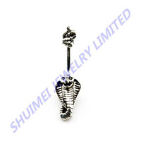 Surgical Steel King Cobra Navel Belly Button Ring Barbell Body Piercing Jewelry