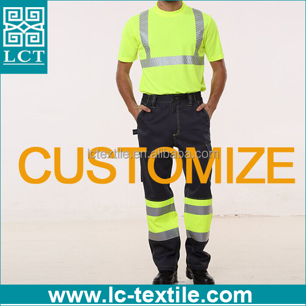 customize high quality workwear polo shirt pants reflective t shirt with 3m tape
