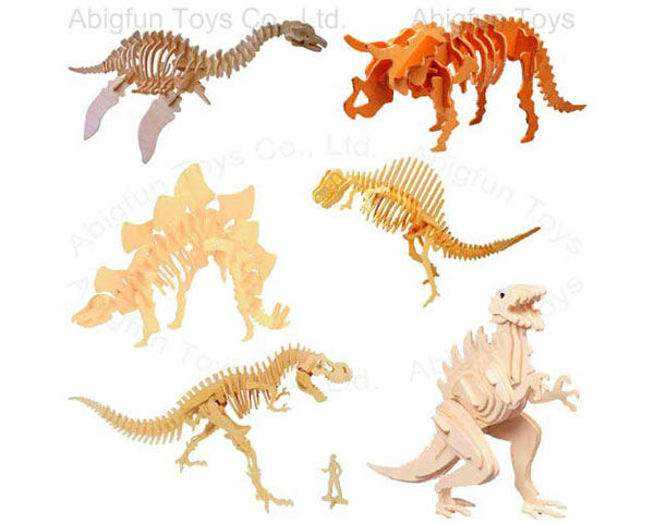 dinosaur 3d wooden puzzle, wood dinosaur 3d puzzle, wood Anchiceratops construction kit