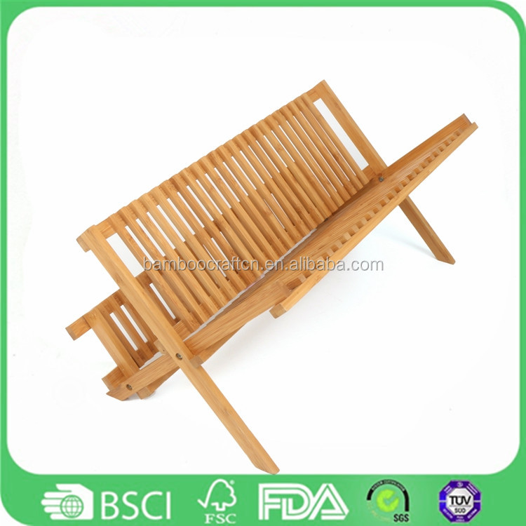 Eco friendly wooden custom revolving Bamboo Dish Rack adjustable